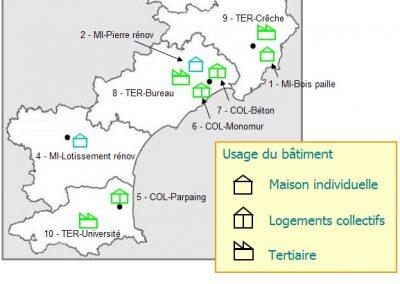 Typologie et localisation des projets étudiés