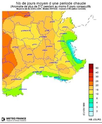 Hypothèses élévations des températures en 2050