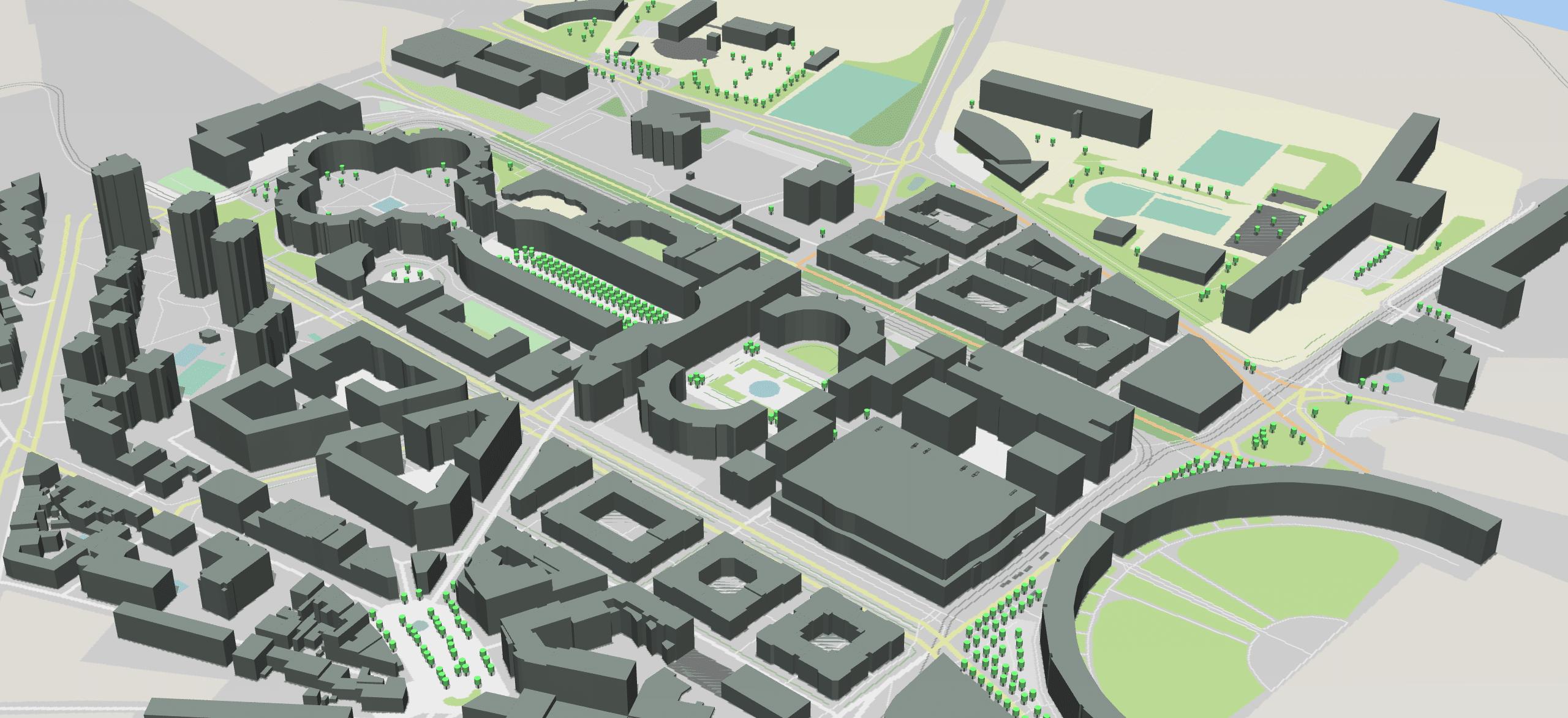 Vue de Montpellier dans l'environnement urbain du Modeleur
